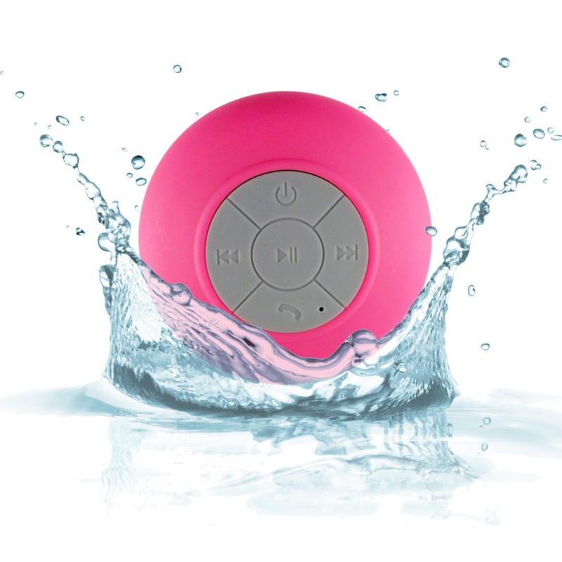 Bleutooth shower speaker in de kleur roze/rood