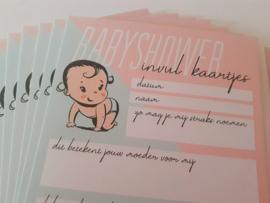 Babyshower invulkaarten - 10 stuks