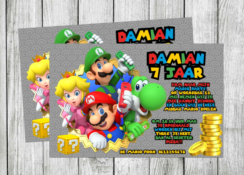 Super Mario uitnodiging - Mario party