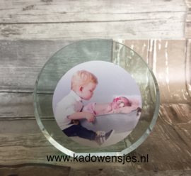 Ronde glasstandaard met foto