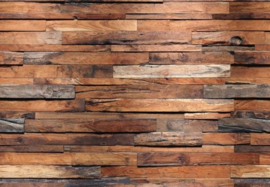 Foto behang Wooden Wall 00150