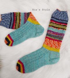Hand gebreide sokken maat 38/39 Hot Socks blue