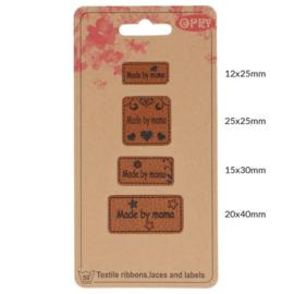 Opry skai-leren labels Made by Mama per 4 stuks