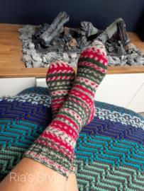 Hand gebreide kerst sokken maat 38