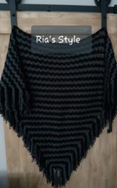 Handmade omslagdoek zwart/grijs