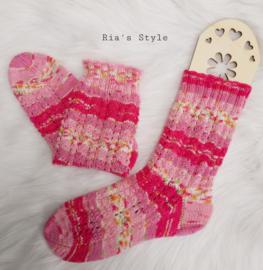 Hand gebreide sokken Mistral maat 38/39 Pink WOLVRIJ