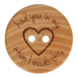 Houten knoop HAD YOU IN MY HEART MAAT 20mm per stuk