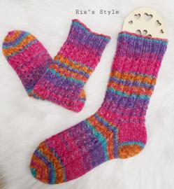 Hand gebreide sokken maat 38/39 Zuurstok