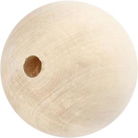 Grote houten blanke kraal 80mm per stuk