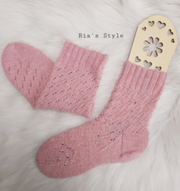 Hand gebreide sokken maat 38 Rose