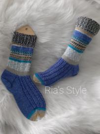 Hand gebreide sokken maat 38/39 Hot Socks Blauw