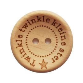 Houten knoop Twinkle twinkle kleine ster 18mm per stuk