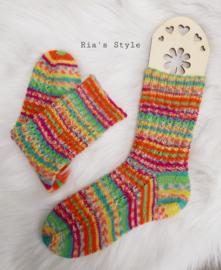 Hand gebreide sokken maat 38 Orange/green