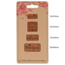 Opry skai-leren labels Made by oma per 4 stuks