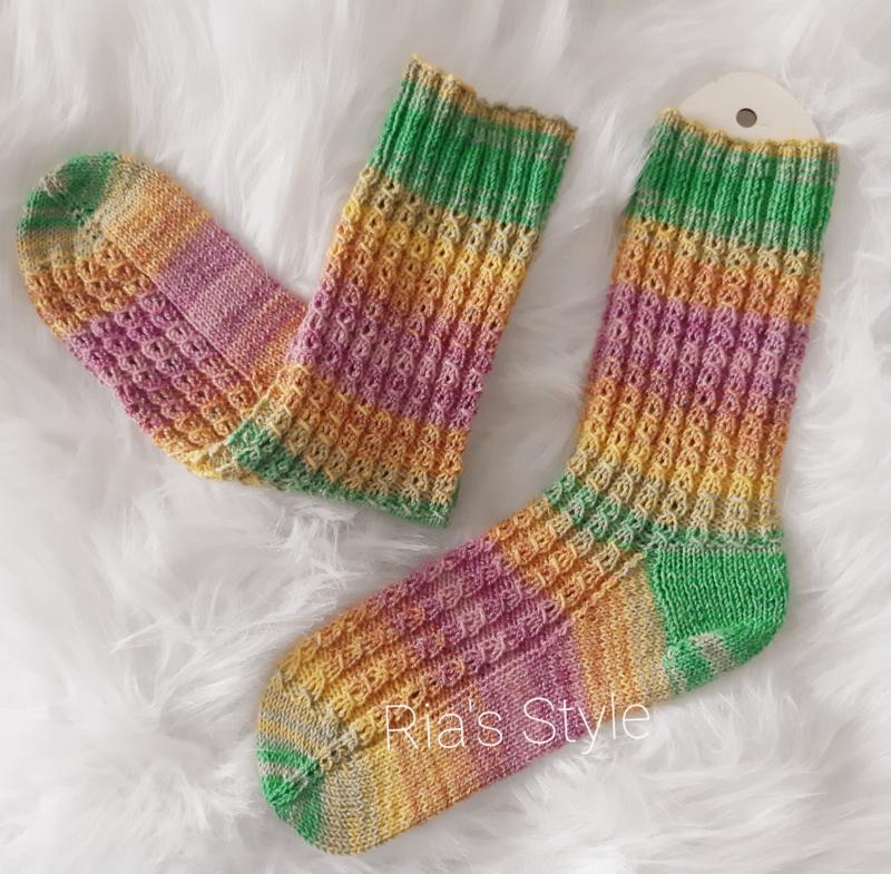 Hand gebreide sokken maat 38/39 Pastel
