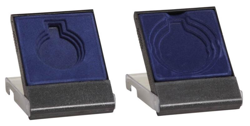 Medailledoosje transparant blauw-zwart E602