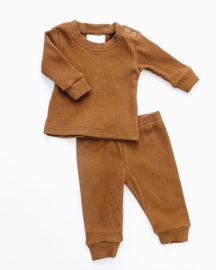 Two Piece Ribbed Cotton Camel