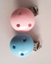 Clip hout rond roze / blauw 35mm