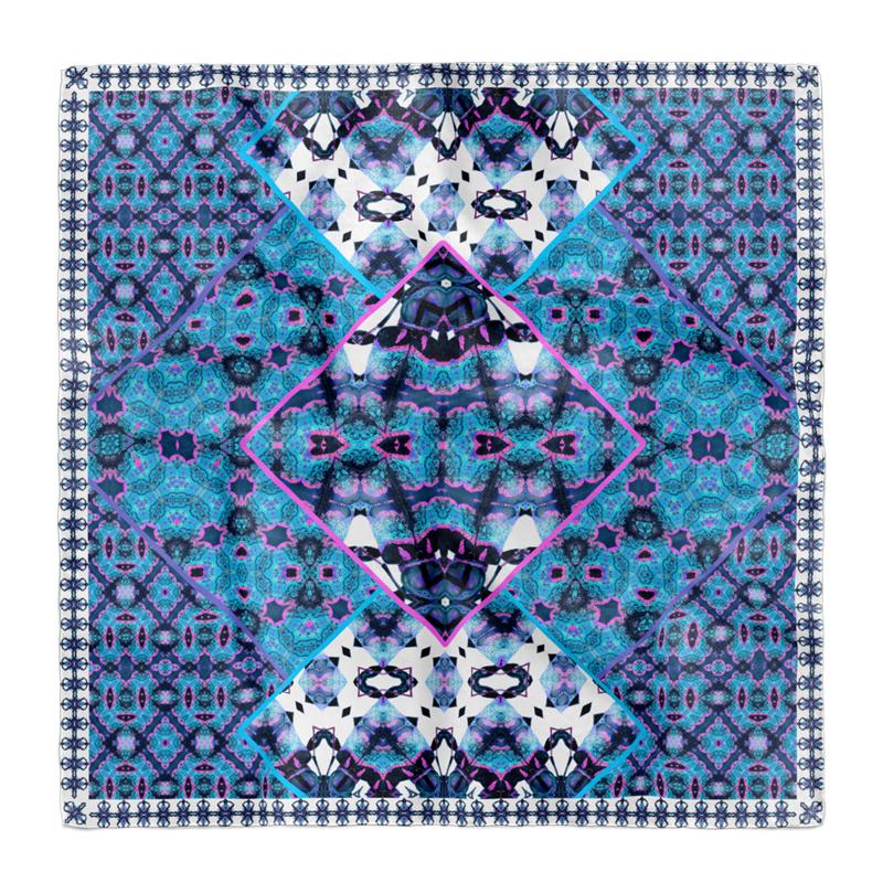 """Entomology Silk Scarf """"Doliops"""" Blue"""