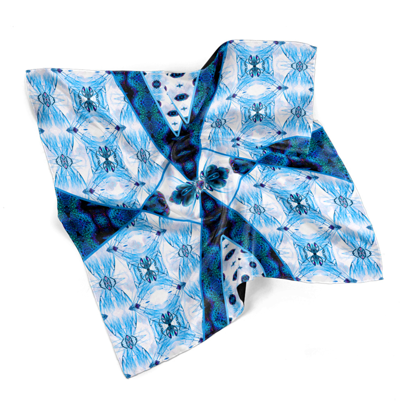 "Entomology Silk Pocket Square ""Vespa"" Blue"