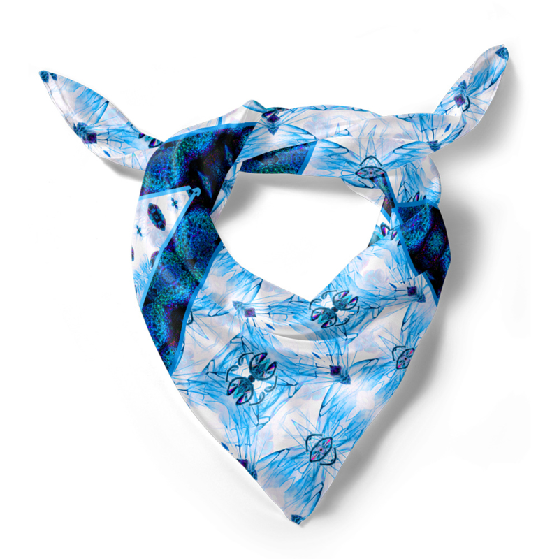 "Entomology Silk Scarf ""Vespa"" Blue"