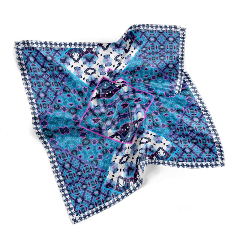 """Entomology Silk Pocket Square """"Doliops"""" Blue"""