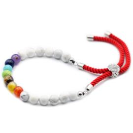 Lava Steen Chakra Touw Armband wit