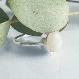 Ronde maansteen ring zilver