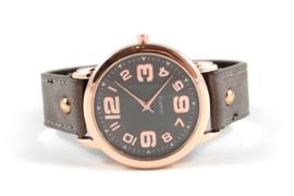 Horloge met rozegoud kleurige kast - Taupe