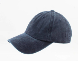 Cap washed denim donkerblauw