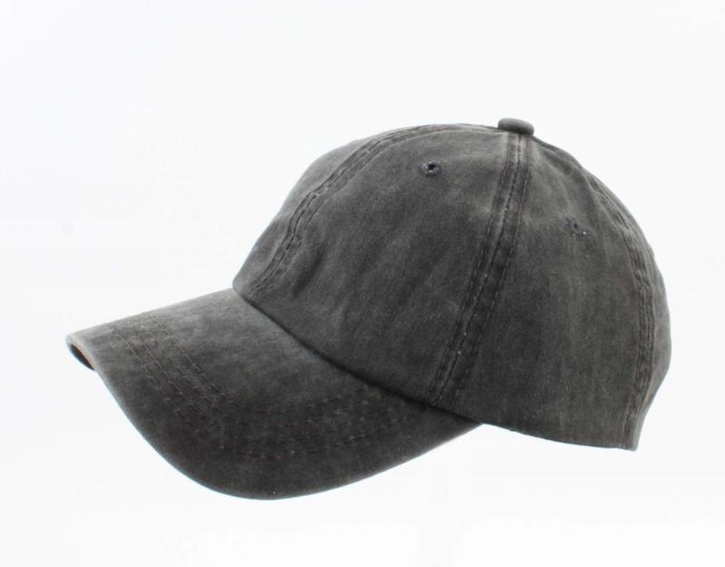 Cap washed denim zwart