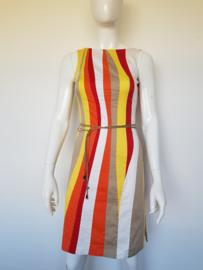 Daniel Hechter jurk. Mt. 34. Geel, oranje, rood gestreept.