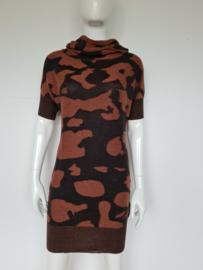 Expresso jurk met wijde col. Mt. S. Bruin/print.