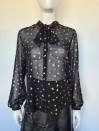 Scotch & Soda blouse. Mt. 2. Zwart/gouden sterren print.