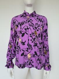 MbyM Ferra blouse. Mt. 38. Lila/vogelprint.