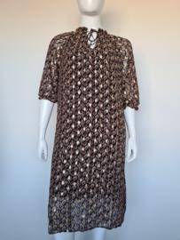 ZOEY jurk. Mt. 46/48. Zwart/bruin/goudkleurig.