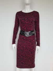 Dierenprint jurk Catootje. Mt. M. Roze/zwart.
