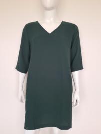 Selected Femme jurk met V-hals. Mt. 42. Donkergroen.