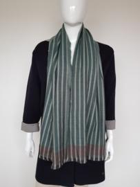 Wollen shawl Joline Jolink. Bruin/groen/crème gestreept.