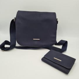 Kipling schoudertas met portemonnee. Donkerblauw.