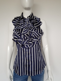 Mouwloze blouse Ralph Lauren. Mt. 8. Blauw/wit gestreept.