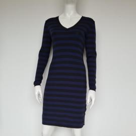 Nikkie jurk. Mt.38. Blauw/zwart gestreept.