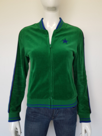 Bakery Ladies baseball jacket. Mt. M. Velours/groen.