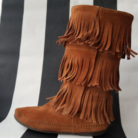 Minnetonka 3-Layer Fringe boots. Mt. 40. Bruin suède.