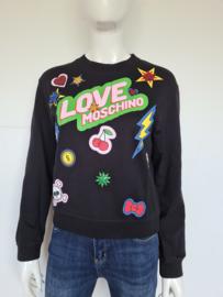 Love Moschino Sweater. Mt. 38. Zwart/print.