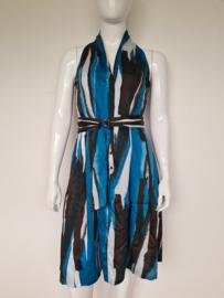 Claudia Sträter jurk. Mt. 42. Blauw/bruin/print.