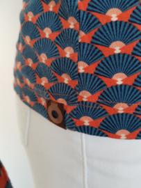 4FunkyFlavours blouse Hong Kong. Mt. S. Oranje/blauw/print.