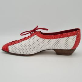 Jan Jansen schoenen. Mt. 39. Wit/rood/leer.