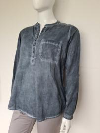 Anne L. blouse top. Mt. 42. Blauw/grijs.