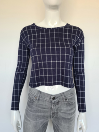 Modström crop top. Mt. XS. Blauw/wit.